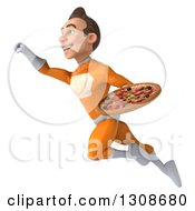 Clipart Of A 3d Young Brunette White Male Super Hero In An Orange Suit Flying Up To The Left And Holding A Pizza Royalty Free Illustration