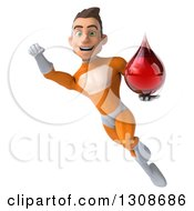 Clipart Of A 3d Young Brunette White Male Super Hero In An Orange Suit Flying With A Blood Drop Royalty Free Illustration