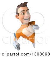 Clipart Of A 3d Young Brunette White Male Super Hero In An Orange Suit Holding A Giant Vaccine Syringe Around A Sign Royalty Free Illustration