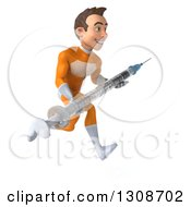 Clipart Of A 3d Young Brunette White Male Super Hero In An Orange Suit Sprinting To The Right With A Giant Vaccine Syringe Royalty Free Illustration