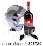 Clipart Of A 3d Wine Bottle Mascot Holding Up A Euro Symbol Royalty Free Illustration