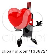 Clipart Of A 3d Wine Bottle Mascot Facing Slightly Right Jumping And Holding A Red Heart Royalty Free Illustration
