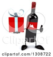 Clipart Of A 3d Wine Bottle Mascot Giving A Thumb Up And Holding A Gift Royalty Free Illustration