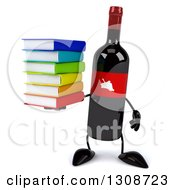 Clipart Of A 3d Wine Bottle Mascot Holding A Stack Of Books Royalty Free Illustration
