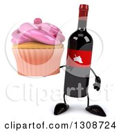 Clipart Of A 3d Wine Bottle Mascot Holding A Pink Frosted Cupcake Royalty Free Illustration