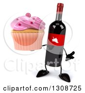 Clipart Of A 3d Wine Bottle Mascot Shrugging And Holding A Pink Frosted Cupcake Royalty Free Illustration