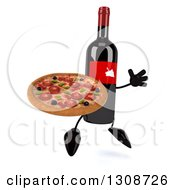 Clipart Of A 3d Wine Bottle Mascot Facing Slightly Right Jumping And Holding A Pizza Royalty Free Illustration