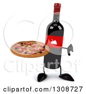 Clipart Of A 3d Wine Bottle Mascot Holding A Thumb Down And Pizza Royalty Free Illustration