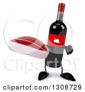 Clipart Of A 3d Wine Bottle Mascot Holding And Pointing To A Beef Steak Royalty Free Illustration