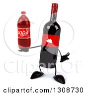 Clipart Of A 3d Wine Bottle Mascot Shrugging And Holding A Soda Bottle Royalty Free Illustration