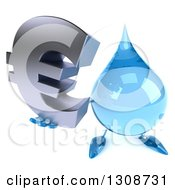 Clipart Of A 3d Water Drop Character Holding Up A Euro Symbol Royalty Free Illustration