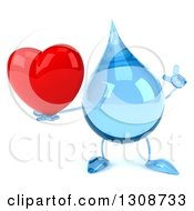 Clipart Of A 3d Water Drop Character Holding Up A Finger And A Red Love Heart Royalty Free Illustration