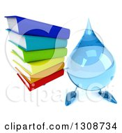 Clipart Of A 3d Water Drop Character Holding Up A Stack Of Books Royalty Free Illustration