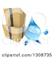 Clipart Of A 3d Water Drop Character Holding Up A Thumb And Boxes Royalty Free Illustration