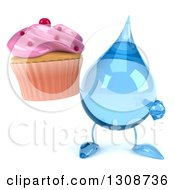 Clipart Of A 3d Water Drop Character Holding And Pointing To A Pink Frosted Cupcake Royalty Free Illustration