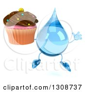 Clipart Of A 3d Water Drop Character Jumping And Holding A Chocolate Frosted Cupcake Royalty Free Illustration