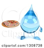Clipart Of A 3d Water Drop Character Holding A Pizza Royalty Free Illustration