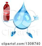 Clipart Of A 3d Water Drop Character Jumping And Holding A Soda Bottle Royalty Free Illustration
