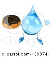 Clipart Of A 3d Water Drop Character Jumping And Holding A Chocolate Frosted Donut Royalty Free Illustration