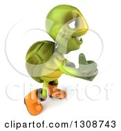 Clipart Of A 3d Tortoise Turtle Gardener In Rubber Boots Facing Right And Holding Up A Thumb Royalty Free Illustration