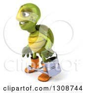 Clipart Of A 3d Tortoise Turtle Gardener In Rubber Boots Holding A Watering Can And Facing Left Royalty Free Illustration