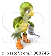 Clipart Of A 3d Tortoise Turtle Gardener In Rubber Boots Holding A Watering Can And Facing Right Royalty Free Illustration