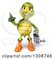Clipart Of A 3d Tortoise Turtle Gardener In Rubber Boots Holding A Watering Can And Holding Up A Finger Royalty Free Illustration