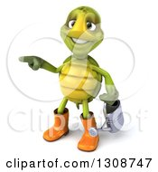 Clipart Of A 3d Tortoise Turtle Gardener In Rubber Boots Holding A Watering Can And Pointing To The Left Royalty Free Illustration