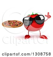 Clipart Of A 3d Tomato Character Wearing Sunglasses Holding Up A Finger And A Pizza Royalty Free Illustration