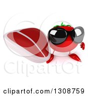 Clipart Of A 3d Tomato Character Wearing Sunglasses And Holding Up A Beef Steak Royalty Free Illustration