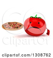 Clipart Of A 3d Unhappy Tomato Character Holding A Pizza Royalty Free Illustration