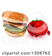 Clipart Of A 3d Happy Tomato Character Holding Up A Double Cheeseburger Royalty Free Illustration