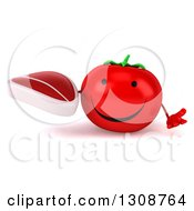 Clipart Of A 3d Happy Tomato Character Shrugging And Holding A Beef Steak Royalty Free Illustration