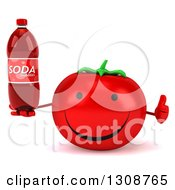Clipart Of A 3d Happy Tomato Character Holding A Thumb Up And A Soda Bottle Royalty Free Illustration