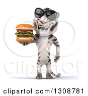 Clipart Of A 3d White Tiger Wearing Sunglasses And Holding A Double Cheeseburger Royalty Free Illustration