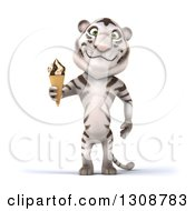 Clipart Of A 3d White Tiger Holding A Waffle Ice Cream Cone Royalty Free Illustration