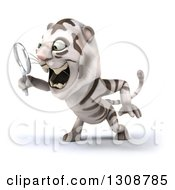Clipart Of A 3d White Tiger Facing Left And Searching With A Magnifying Glass Royalty Free Illustration