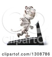 Clipart Of A 3d White Tiger Smiling Facing Right And Running On A Treadmill Royalty Free Illustration
