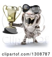 Clipart Of A 3d White Tiger Wearing Sunglasses Roaring And Holding A Trophy Royalty Free Illustration