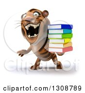 Clipart Of A 3d Tiger Roaring And Holding A Stack Of Books Royalty Free Illustration