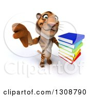 Clipart Of A 3d Tiger Holding Up A Thumb Down And Stack Of Books Royalty Free Illustration