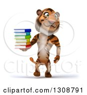 Clipart Of A 3d Tiger Walking And Holding A Stack Of Books Royalty Free Illustration