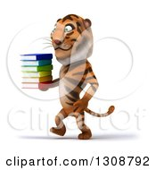Clipart Of A 3d Tiger Walking To The Left And Holding A Stack Of Books Royalty Free Illustration