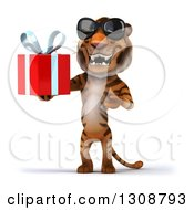 Clipart Of A 3d Tiger Wearing Sunglasses Holding And Presenting A Gift Royalty Free Illustration