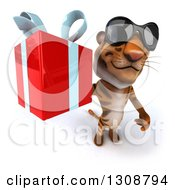 Clipart Of A 3d Tiger Wearing Sunglasses And Holding Up A Gift Royalty Free Illustration