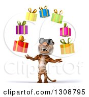 Clipart Of A 3d Tiger Wearing Sunglasses And Juggling Gifts Royalty Free Illustration