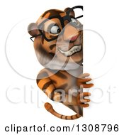 Clipart Of A 3d Bespectacled Tiger Smiling Around A Sign Royalty Free Illustration