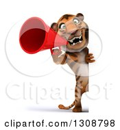Clipart Of A 3d Full Length Tiger Announcing With A Megaphone Around A Sign Royalty Free Illustration