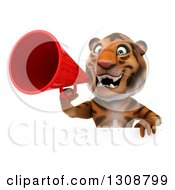 Clipart Of A 3d Tiger Announcing With A Megaphone Over A Sign Royalty Free Illustration