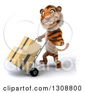 Clipart Of A 3d Tiger Grinning Walking To The Left And Moving Boxes On A Dolly Royalty Free Illustration